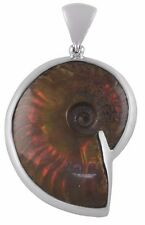 "NWT 1 7/8"" Fossilized Ammonite w/Citrine Sterling Silver Pendant-Starborn EP0064"