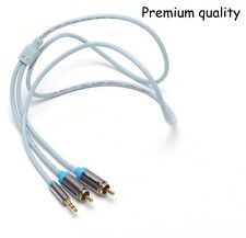 3.5mm Stereo male to 2RCA male 5M/16' extension Audio Cable for iphone mp3 ipod