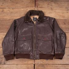 "Mens Avirex Type G-1 Vintage US Navy Genuine Leather Jacket Brown L 44"" R3798"