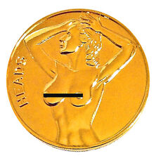 Sexy Lucky Lady Gold-Mirrored PinUp Good Luck Heads & Tail Challenge Coin Token