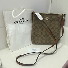 NEW ARRIVAL! COACH SIGNATURE NS CROSSBODY MESSENGER SLING BAG KHAKI SADDLE $195