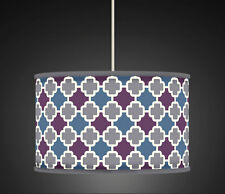 40cm Plum Teal Grey Geometric Handmade fabric lampshade pendant 484 Light Shade