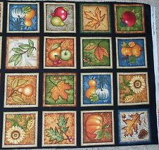 Shades of Autumn Squares panel Fabric 100% Cotton Dan Morris RJR leaf Apple