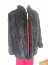 Vintage Black Mink Fur Coat Jacket Size Small Medium Pockets Inside & Out Short