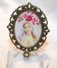 Custom Bronze Rosary Center Part/Color/Rosary Making/Immaculate Queen Pink Rose