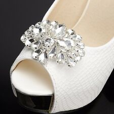 2PCS Acrylic Rhinestone Crystal Wedding Bridal Silver Tone Sparkle Shoe Clips