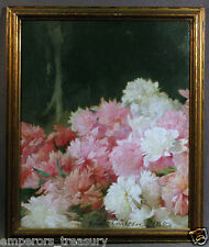 Flower Still-life Signed Emil Carlsen,1895 (US)Oil Painting Depiction of Peonies