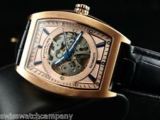 Stuhrling Original Men Leisure Millennia Visionaire Auto 18KRGIP Leather Watch