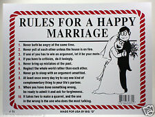 """RULES FOR A HAPPY MARRIAGE 9""""X12"""" PLASTIC SIGN NEWLYWED GIFT HUSBAND & WIFE"""