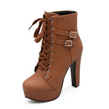 Womens Leather Lace Up Platform Block High Heel Buckle Boots Shoes Plus Size 11