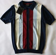 MERC MENS VERTICAL STRIPE KNITTED BUTTON THROUGH POLO SHIRT IN NAVY SIZE M NWT