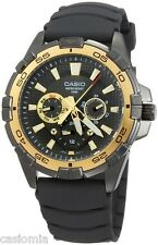 Casio MTD1069B-1A1 Mens GOLD Bezel 100M Multi-Dial Resin Sports Watch NEW