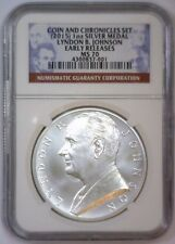 2015 LYNDON B. JOHNSON Silver Medal from Coin & Chronicles Set ~ NGC MS70