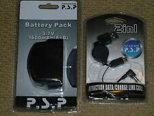 PLAYSTATION PORTABLE PSP 1000 PHAT 3.7V 1800mAH ADDON BATTERY + USB CHARGER NEW!
