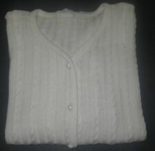 Vintage Women's SWEATER Cardigan Ivory Cable Knit long sleeve V-neck by Cicely