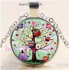 Owl Tree of Life Photo Cabochon Glass Silver Chain Pendant Necklace