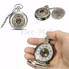 Silver Vintage Antique Steampunk Skeleton Pocket Watch Chain Pendant Gift