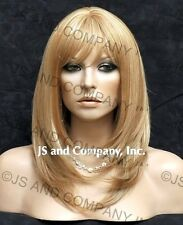 Face Framing Long Straight Blonde mix Human Hair Blend Wig Heat Safe wda 27/613