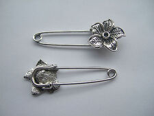 10pcs Antique Silver Flower Strong Metal Kilt Shawl Scarf Brooch Safety Pin 53mm