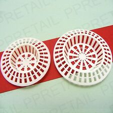 2Pc WHITE PLUG HOLE HAIR TRAPS Strainer LARGE Shower/Bath + SMALL Sink/Basin NEW