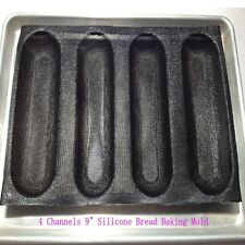 """9"""" Silicone Fiberglass French Bread Baking 4 Rolls Mold Baguette Tray Bakery Pan"""