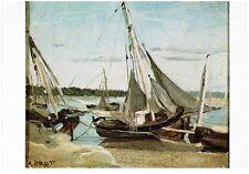 1980s France Postcard - Barques à voiles échouées, Trouville, Camille Corot