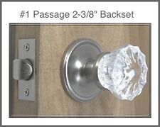 Lot of 3 Complete Sets Fluted Crystal Glass/Brushed Nickel PASSAGE Door Knob Set
