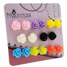 Wholesale Lot of 8 Mixed Color Resin Rose Flower Magnetic Stud Earrings for Kids
