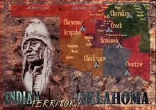 Oklahoma Indian Territory Native American Tribes Cherokee etc State Map Postcard