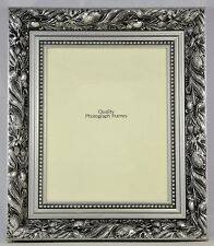 """Quality Wooden Photo/Picture Frame in Silver Dahlia Design - Size 14x11"""""""