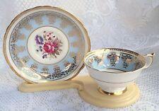 Paragon Beautiful Blue/Gold/Floral Tea Cup &  Saucer (661)
