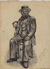 Hermine DAVID : encre 1901, le plus ancien dessin connu réalisé à 14 ans, signé