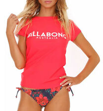 "NEW + TAG BILLABONG WOMENS (8) ""SURF DAYZ"" WETSHIRT RASHIE RASH VEST RED HOT"