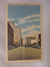 VINTAGE LINEN POSTCARD TOWN VIEW ON FANNIN STREET IN HOUSTON TEXAS UNUSED