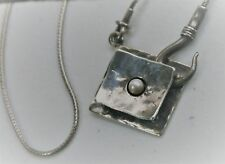 "Israel's Didae Shabool 18"" Sterling Silver Hammered Pearl Hook Square Necklace"