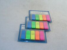 Flag Markers Self-Stick Page Markers ~ 600 ct. ~ 5 Neon Colors, Two Styles