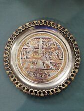 "King Ramses Warrior Chariot 12"" Inlaid Brass Wall Plate Handmade in Egypt"