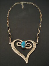 Vintage Navajo Turquoise Silver Heart Sterling Silver Necklace jewelry antique