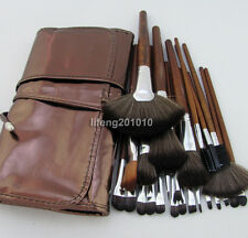 24PCS PRO Brown make up kit makeup brushes makeup brush set with roll up bag