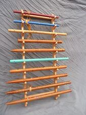 Solid Red oak wall mount flute rack.flute stand .holds 10 native american flutes