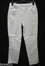 Ladies White Casual Cotton Trousers Size 12 14 L31 Plaited Side Seam by TOGETHER