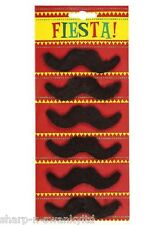 6 x Mens 70s Mario Mexican Fake Stick On Moustache Fancy Dress Costume Accessory
