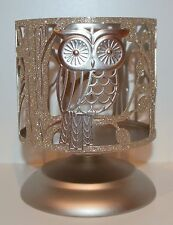 BATH & BODY WORKS SPARKLY OWL PEDESTAL LARGE 3 WICK CANDLE HOLDER SLEEVE 14.5 OZ