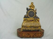 Antique Louis Philippe Figural  Man and Dog Mantle Clock as-is