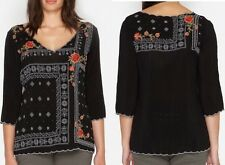 $238 JOHNNY WAS BENNET BLOUSE EMBROIDERED TUNIC TOP BLACK PLUS  SZ 3X NWT