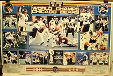 "1986 Chicago Bears 22 x 34"" World Champs Poster Super Bowl XX Payton Hampton"