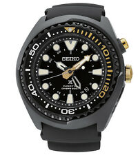 New Seiko SUN045 Prospex Kinetic GMT Diver Black Dial Silicone Strap Mens Watch