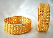 Indian Traditional  2pcs antique Gold plated Bangles Royal bracelet size 2.6 .