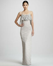 NWT 4 S NOTTE BY MARCHESA Blush Silver Lace Mesh Rosette Formal Gown BRIDAL