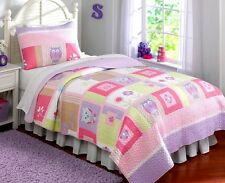 HAPPY OWLS Full / Queen QUILT SET : GIRLS PURPLE PINK FLOWERS WHIMSY COMFORTER